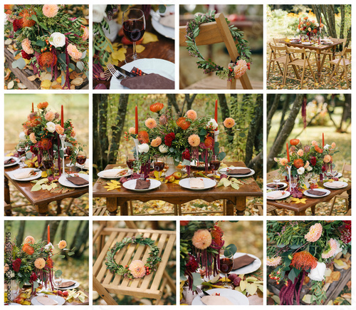 Dinning Table Set For Wedding Tablou Canvas