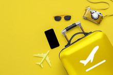 Travel & Airplane Concept With The Luggage