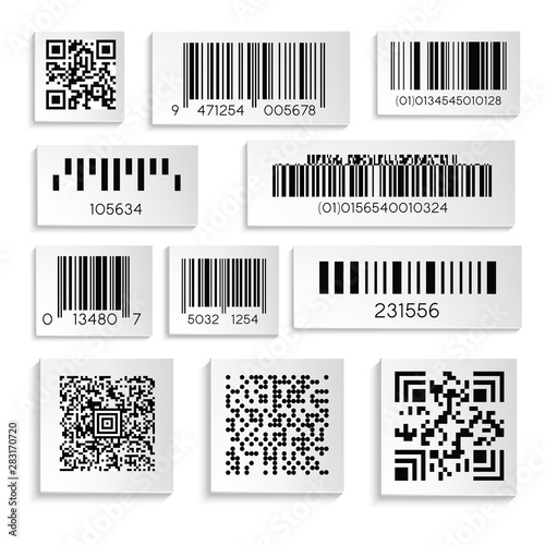 Barcodes or products sticker with cipher or serial number isolated icons Wallpaper Mural