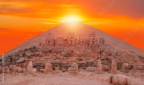 Statues on top of the Nemrut Mountain, in Adiyaman, Turkey