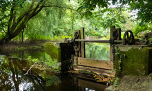 Landscape Of A Disused, Victorian Sluice Gate On The River Penk, Staffordshire. With Rusty Cogs And Winding Gear. Running Water Passing By, With Overhanging Branches And Reflections On The Surface.