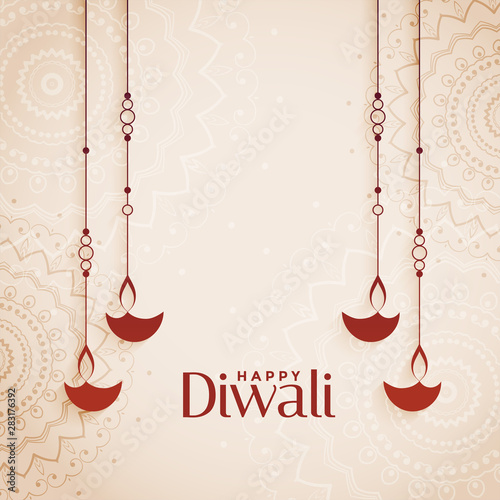 Photo  happy diwali elegant diya background with text space