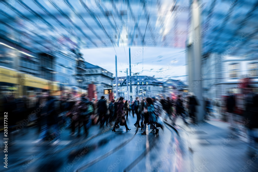 Fototapety, obrazy: Urban city view of people crowd walking outside of bus station - Concept of modern, rushing, urban, city life, business, shopping - Focus on center pedestrians feet - Defocused radial effect