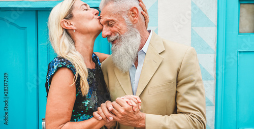 Happy senior couple having tender moments outdoor - Mature people enjoying time Canvas Print