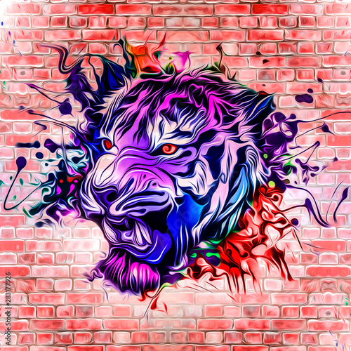 Abstract creative wallpaper with colors blots and tiger head