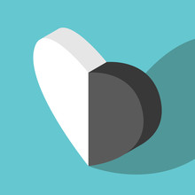 Isometric Black, White Heart