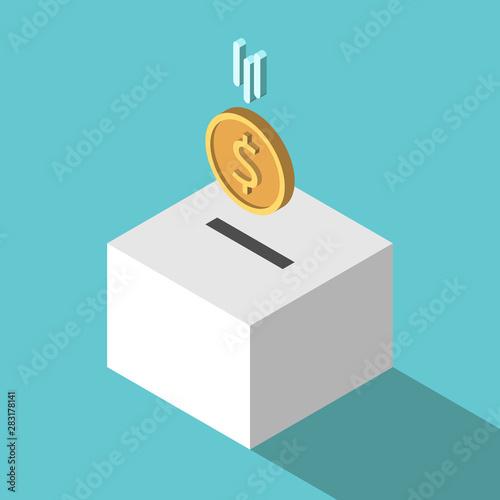 Slika na platnu Isometric coin falling, box