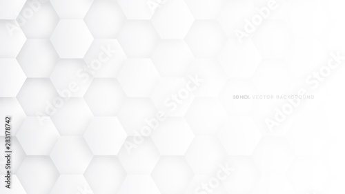 Fototapety, obrazy: White 3D Vector Hexagon Pattern Technology Abstract Background. Sci-Fi Tech Hexagonal Blocks Structure Conceptual Light Wallpaper. Clear Blank Subtle Textured Banner Backdrop