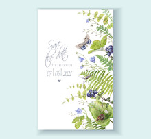 Watercolor Border With Forest Plants And Butterfly