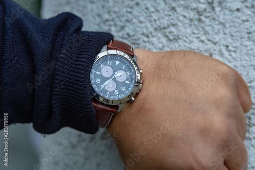 Fotografie, Obraz  Pilot watch on wrist