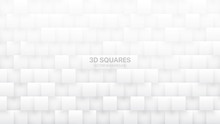 3D Vector Squares Technologic White Abstract Background. Science Conceptual Technology Three Dimensional Tetragonal Blocks Structure Light Wallpaper. Tech Clear Blank Subtle Textured Backdrop