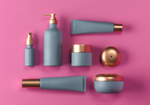 Cosmetic Mock Up Set. Cosmetic Packaging Bottles Jar And Tube. Make Up Blank Face Cream Tube, Spray. Set Of Trendy Gold Realistic Beauty Products On Pink Background. Skin Or Hair Care. 3d Rendering
