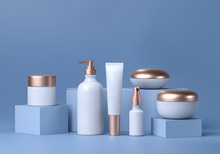Cosmetic Mock Up Set. Cosmetic Packaging Bottles Jar And Tube. Make Up Blank Face Cream Tube, Spray. Trendy White Gold Realistic Beauty Products On Blue Background. Skin Or Hair Care. 3d Rendering