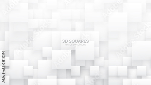 Obraz Conceptual 3D Vector Different Size Square Blocks Technologic White Abstract Background. Science Technology Tetragonal Structure Light Wallpaper. Tech Clear Blank Subtle Textured Backdrop - fototapety do salonu