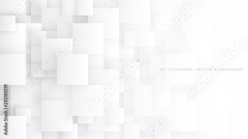 Fotomural  Conceptual 3D Vector Different Size Tetragons Technologic White Abstract Background