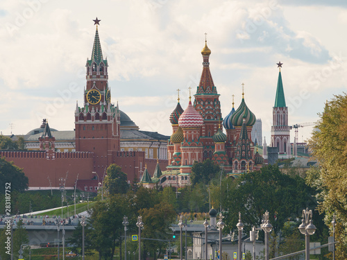 Poster Moscow Moscow cityscape in summer day. Moscow Kremlin photo photography. Image of Kremlin Towers, Spasskaya Tower, Saint Basil's Cathedral. Hugh resolutiob photo.