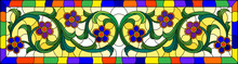 Illustration In Stained Glass Style With Abstract  Swirls,flowers And Leaves  On A Yellow Background In A Bright Frame ,horizontal Orientation