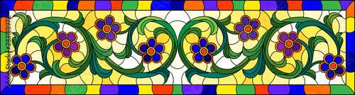 Cuadros en Lienzo  Illustration in stained glass style with abstract  swirls,flowers and leaves  on