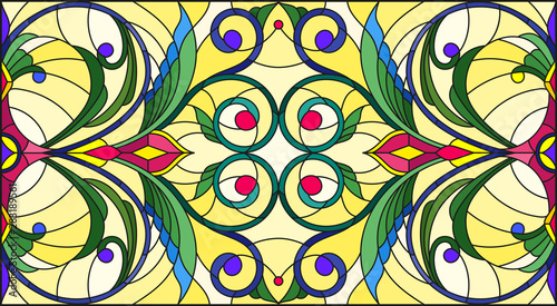 Obraz na plátně  Illustration in stained glass style with abstract  swirls,flowers and leaves  on