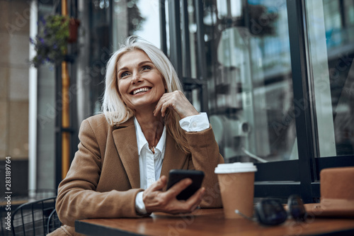 Pleasant place to relax and enjoy coffee stock photo - 283189764