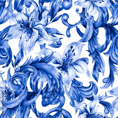 watercolor-blue-baroque-seamless-pattern-with-white-royal-lilies-hand-drawn-blue-scrolls