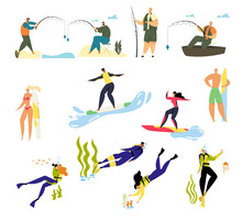 Summer Time Sports Activity And Hobby Set. Male And Female Characters Relaxing On Summertime Vacation Diving Surfing Fishing. Men And Women Water Fun Holidays Resort Cartoon Flat Vector Illustration