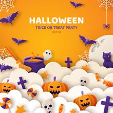 Halloween Orange Paper Cut Banner