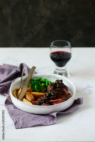 steak with mushroom sauce and potatoes. Canvas Print