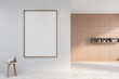 canvas print picture - Empty beige and white bathroom corner with poster