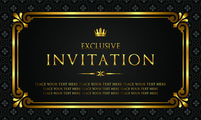 Exclusive invitation card - black and gold style