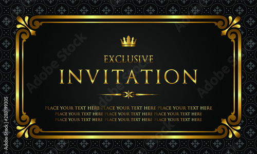 Foto  Exclusive invitation card - black and gold style
