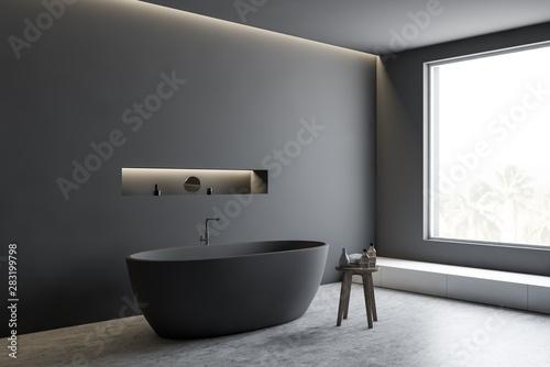 Carta da parati  Gray bathroom corner with tub and shelf
