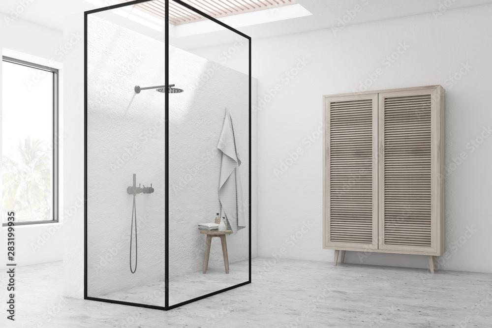 Fototapety, obrazy: White bathroom corner with shower stall