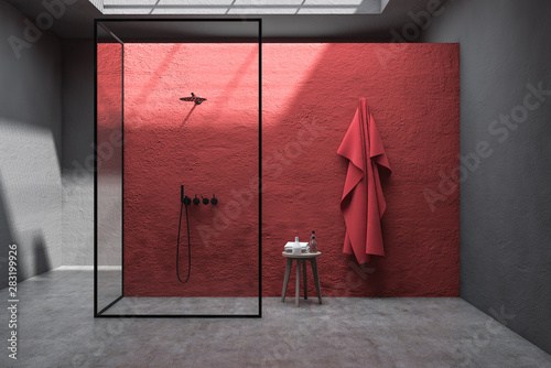 Fototapeta Red and gray bathroom interior with shower obraz