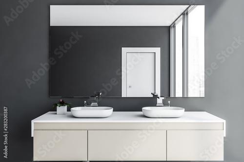 Obraz Close up of double sink in gray bathroom - fototapety do salonu