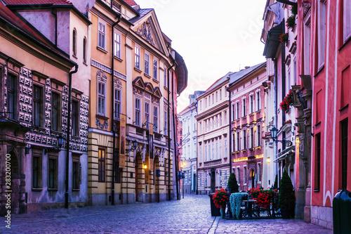 Fototapeta KRAKOW, POLAND - August 27, 2017: street view of downtown Krakow, Poland obraz