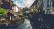 Tranquil canals with reflections in the pretty town of Colmar, Alsace, France. Stunning colorful ornamented facades in medieval Little Venice district
