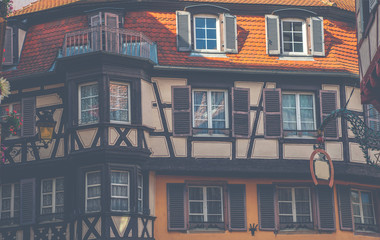 Traditional colorful half-timbered houses in Colmar Old Town, Alsace, France.
