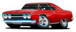 Classic Muscle Car Cartoon Isolated Vector Illustration
