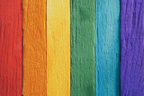 Fototapeta Tęcza - rainbow flag wood plank Texture background for design