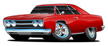 Classic Muscle Car Cartoon Iso...
