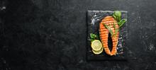 Grilled Salmon Steak On A Ston...