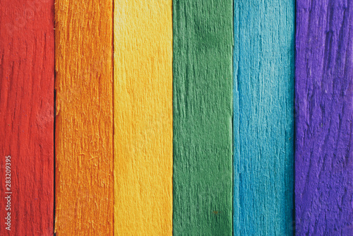 Fotografía  rainbow flag wood plank Texture background for design