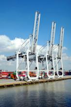 Gantry Cranes In The Port Of Savannah, Georgia.