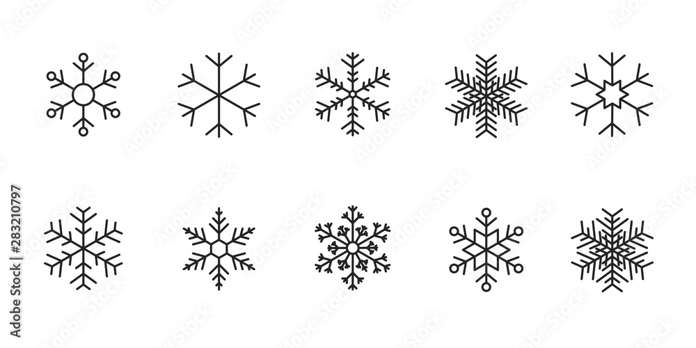 Fototapeta Set of black Snowflakes icons. Vector winter icons.
