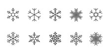 Set Of Black Snowflakes Icons. Vector Winter Icons.