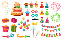 Cartoon Party Kit. Rocket Fireworks, Colorful Balloons And Birthday Gifts. Carnival Masks And Sweet Cupcakes, Fireworks, Balloons And Cupcakes. Isolated Vector Illustration Icons Set