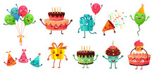 Cartoon Birthday Celebration Set. Party Balloons With Funny Faces, Happy Birthday Cake And Gifts Mascot. Birth Greeting Card Decoration Character. Isolated Vector Illustration Icons Set