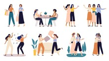 Women Friends. Girlfriends Spend Time Together, Walking With Friend And Young Girls Pillow Fighting. Powerful Women Standing, Dancing And Friendship Hugging Vector Illustration Set