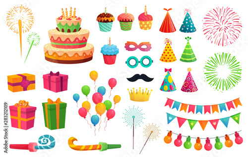 Obraz Cartoon party kit. Rocket fireworks, colorful balloons and birthday gifts. Carnival masks and sweet cupcakes, fireworks, balloons and cupcakes. Isolated vector illustration icons set - fototapety do salonu